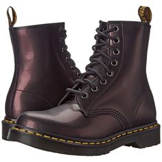 Dr. Martens 1460 Women's Lace-up Boots, Purple ($100) ❤ liked on Polyvore featuring shoes, boots, purple, laced up boots, leather boots, platform shoes, purple lace up boots and platform boots