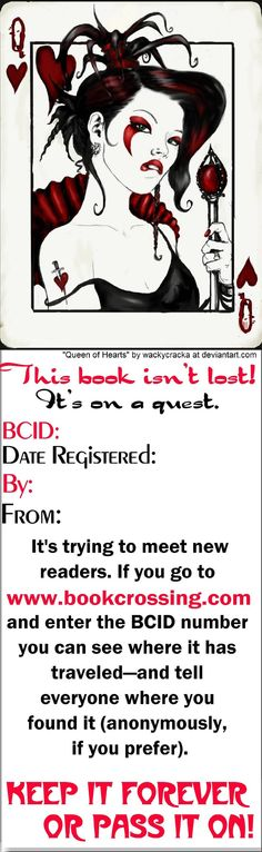 very cool BookCrossing label by someone on deviantart ~That's a cool label. ~m