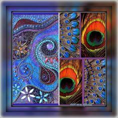Mosaiquismo, a la izquierda.. Dos plumas naturales, de pavo Real, a la derecha. Y con efectos stell-arte.