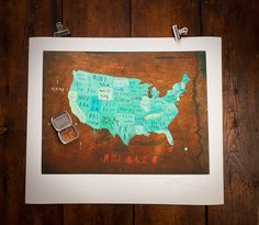 Traveler's Map of America print (w/ pins)