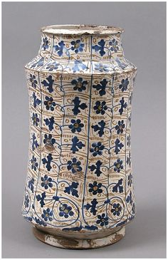 Pharmacy Jar Date: Geography: Made in Manises, Valencia, Spain Culture: Spanish Medium: Tin-glazed earthenware Dimensions: Overall: 11 x 6 in x 159 cm) click the image or link for more info. Antique Pottery, Ceramic Pottery, Pottery Art, Ceramic Art, Earthenware, Stoneware, Apothecary Jars, Ceramic Design, Metropolitan Museum
