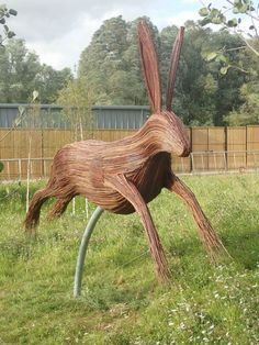 18 foot long and made by hand weaving willow over a steel frame, this is not your average hare. Wooden Sculptures, Animal Sculptures, Big Animals, Wooden Animals, Woodland Park, Shopping Near Me, Hare, Steel Frame, Hand Weaving