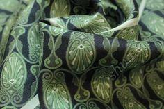 Ткань шелк черного цвета с оливковым узором купить в интернет магазине, ткань шелк отличного качества