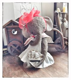11 inch Artist Handmade OOAK Teddy Elephant by SashaPokrass, $240.00