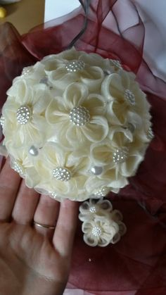 Items similar to Bridal wedding kanzashi organza flower bouquet boutonniere hair…