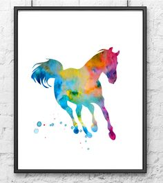 Art print - colorful horse watercolor painting - watercolor animal print painting
