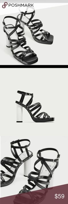 f58f395314e Zara Sandal with Straps and White Heel Size US