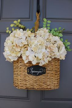 Spring hydrangea basket for door decor