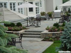 New Jersey Close up of raised bluestone patio and sitting area