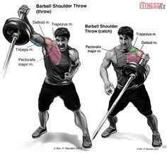 Total Body Power With Barbell Throws. This is a great exercise that can be done without the weight, tabata style. Just set a timer for tabata intervals, ditch the weights (an Olympic bar is 45#, plenty heavy for cardio/strength drill), and perform a semi-squat while the bar is close to the shoulder then explode up with the legs and arm and toss the bar to the opposite arm as quickly as you safely can.