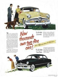 This is an add for a 1950 Ford Tudor Ad - Car. It is trying to get people to purchase this car by offering a deal on it.