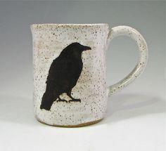 Stoneware mug, Raven mug, coffee cup, microwavable, Edgar Allan Poe Halloween Raven, Stoneware Mugs, Silver Spoons, Pottery Mugs, Crows, Tea Mugs, Mug Cup, Magick, Coffee Cups