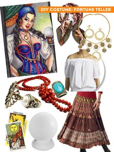DIY Thift Shop Halloween Costumes - fortune teller / The Sweet Escape disfraz la purga DIY: 5 thrift shop halloween costume ideas - The Sweet Escape Creative Studio Halloween Diy Kostüm, Great Halloween Costumes, Easy Halloween Costumes, Halloween 2017, Cool Costumes, Costumes For Women, Costume Ideas, Halloween Inspo, Zombie Costumes