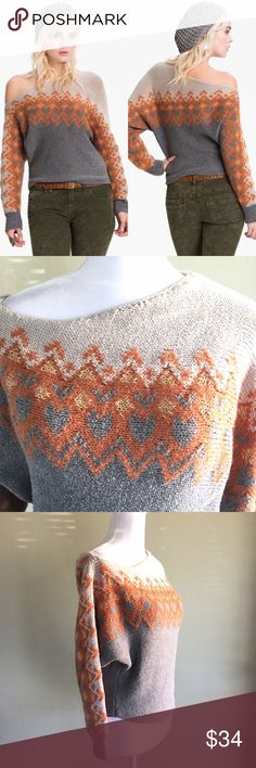 Free People Women's Off Shoulder Sweater Medium Boho and chic style sweater from Free People  • Off the shoulder top • Soft gray and orange color scheme • Heart print detail • Size medium Free People Sweaters Crew & Scoop Necks
