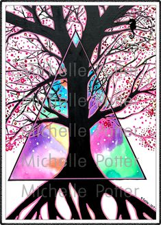 Michelle Potter intuitive artist, paintings in Melbourne, beyond the veil, silhouette, tree, triangle, dimensions,  cherry blossom, pink