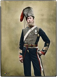 Sergeant Major James Beardsley, 'C' troop of the Royal Horse Artillery in Aldershot, Hampshire - July 1856 (Photograph by Robert Howlett and Joseph Cundall)
