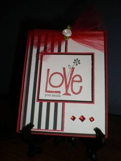 Stampin Up Love You Much, Handmade Valentines Card, Love, Valentine, Black and White and Red