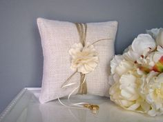 Hey, I found this really awesome Etsy listing at https://www.etsy.com/listing/130378960/cream-ring-pillow-ivory-burlap-ring
