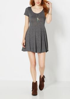image of Charcoal Gray Static Skater Dress