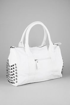 Studded purse / white with gun metal studs