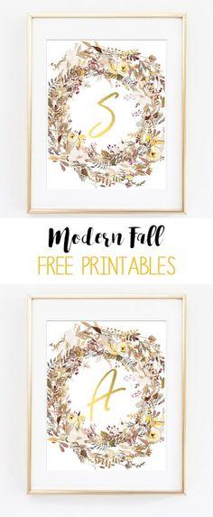 fall printable art | fall wreath printables | initial printable art | alphabet printables | gold | wall art