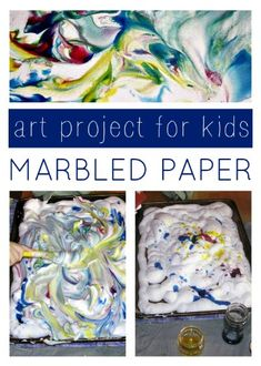 Shaving cream marbled paper art project for kids.