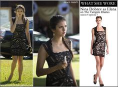 WHAT SHE WORE: Nina Dobrev as Elena in black lace stretch dress on The Vampire Diaries season 4 episode 7 ~ I want her style - What celebrities wore and where to buy it