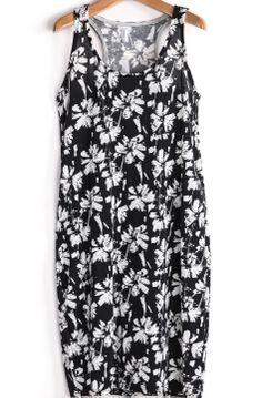 Black and White Florals Print Tank Dress US$19.90