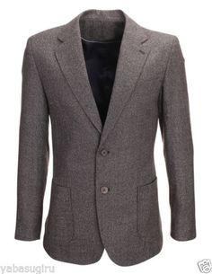 FLATSEVEN Mens Slim Fit Two Button Wool Blazer Jacket (BJ901) Brown M (Chest 40)