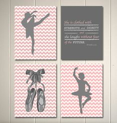 Baby girl nursery art, ballerina nursery, inspirational nursery quotes. christian nursery art, set of 4, 8x10 ballerina posters