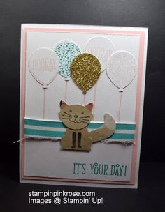 Stampin' Up! Birthday card made with Foxy Friends stamp set and designed by Demo Pamela Sadler. Create many animals with the Foxy Friends stamp set. See more cards at stampinkrose.com and etsycardstrulyheart