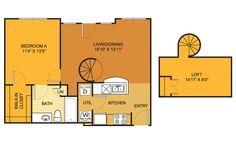 A2 floorplan (1 bed, 1 bath) at Villas on Guadalupe, Austin, TX