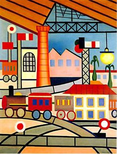 Tarsila do Amaral - The station, Oil on Canvas Art Amour, Art Populaire, European Paintings, Ferrat, Art Database, Art Moderne, Naive Art, Art For Art Sake, Art Design