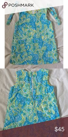 Lilly Pulitzer Blue/Yellow Zebra Pattern Dress Super cute baby dress! It has been worn but still in great condition! Has two pockets on the front and comes with two matching ribbons (you can put in her hair). 100% cotton. Lilly Pulitzer Dresses