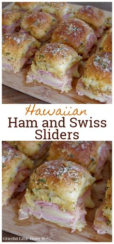 Try these DELICIOUS Hawaiian Ham and Swiss Sliders for a quick and easy meal to serve at your next party. If you need an amazing comfort food recipe for tailgating holiday parties or events this one is the winner! Quick Easy Meals, Easy Dinner Recipes, Holiday Recipes, Food Trucks, Ham And Swiss Sliders, Beste Burger, Hawaiian Sweet Rolls, Slider Recipes, Game Day Food