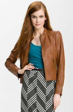 Halogen® Seamed Leather Jacket available at #Nordstrom