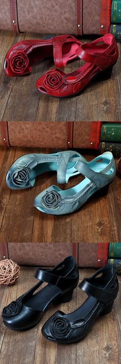 US$26.73 SOCOFY Rose Leaf Block Hook Loop Vintage Shoes_Flower Sandals_Vintage Shoes For Women_Women Summer Fashion