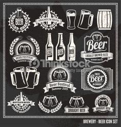 Vector Art : Chalkboard Beer Icon Vector Design Set - blackboard