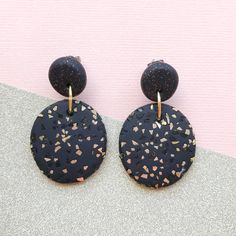 "Image of ""Chloe"" oval drop polymer clay earrings Black sparkly"