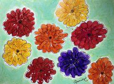 """""""Bright Zinnias"""" Lovitude Soul Painting by Annie Pryor"""