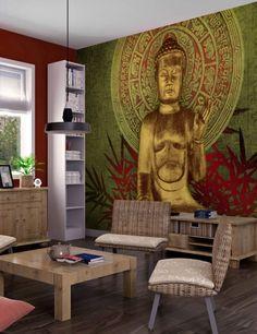 Carta da Parati Buddha Dorato Orientale Carta da Parati Fotomurale Tema Viaggi