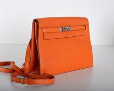 Hermes Kelly Danse Bag ORANGE SWIFT PALLADIUM JaneFinds 6
