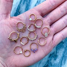Gorgeous Daith or Septum Piercing Hoops - Just *some* of the rose gold beauties for your septum, daith, lobe, or cartilage piercings that we - Septum Piercings, Septum Piercing Jewelry, Tragus, Cute Ear Piercings, Multiple Ear Piercings, Nose Jewelry, Cartilage Earrings, Piercing Shop, Rook Piercing