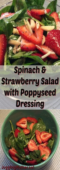 Spinach & Strawberry Salad with Poppy Seed Dressing Spinach Salad with Poppy Seed Dressing Healthy Salads, Healthy Eating, Healthy Recipes, Healthy Food, Clean Eating, Salad Dressing Recipes, Salad Dressings, Summer Salads, Vinaigrette