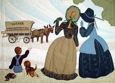 "#9 ""The Bonnet Girls Neighborhood & Town""   Moving Day Pattern $13.50    Leta Irene, Eula Katherine, Robert and Maggie the dog wave goodbye to the mule drawn wagon.    Embroidery floss is used to make the wheels on the wagon and the hair showing through the bonnet.  Shadow appliqué is used in the sky and ground."