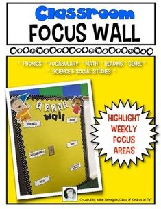 Classroom focus wall for Kindergarten and First Grade. Highlight your weekly goals and keep student and teacher on track! Includes words, titles and 2 kids. Simple and easy to make just print, laminate, cut and assemble. $