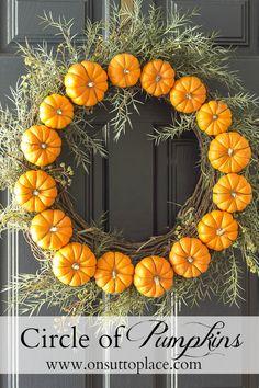 DIY Fall Decor: Circle Pumpkin Wreath