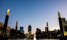 Downtown Indianapolis wedding photography. Lovely couple at sunset for their wedding in downtown Indianapolis. #indianapolisweddings Photo credit: Vow & Forever Vowandforever.net Vows, San Francisco Skyline, Photo Credit, New York Skyline, Wedding Inspiration, Wedding Photography, Bride, Sunset, Couples