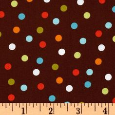 Remix Polka Dots Chocolate from @fabricdotcom  Designed by Ann Kelle for Kaufman Fabrics, this cotton print fabric is perfect for quilting, apparel and home décor accents. Colors include shades of orange, lime, turquoise, white and aqua on a brown background.