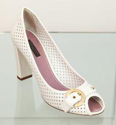 Louis Vuitton White Perforated Leather Peep Toe Pump Shoe Heel 40